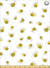 Susybee's Bees on White 100% cotton fabric by the yard