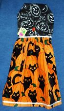 *NEW* Handmade Halloween Pumpkins & Cats Hanging Kitchen Hand Towel #1781