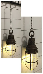2pc Rustic Barn Lights LED Hanging Lanterns Lamps Lights Automatic 6Hr Timer New