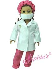 """Fuchsia Doctor Scrubs, Lab Coat, Mask, Hat & Booties fit 18"""" American Girl Doll"""