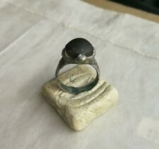 Ancient Viking Old Silver Horned Ring with Black Glass Super Rare