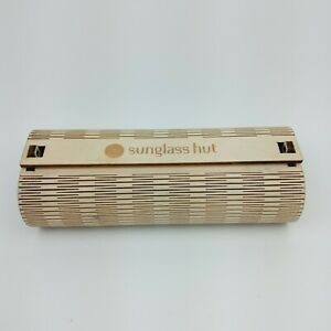 Sunglass Hut Wooden Sunglasses Case Hard Wood Shell Protective Travel Carrier