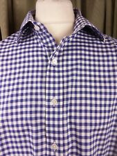 "Gresham Blake Gingham Blue White Check Double Cuff Shirt 17.5"" C48-50"""