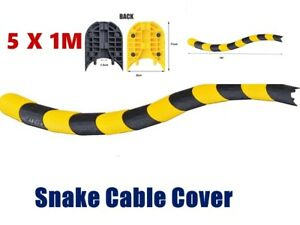 5M 1 Channel Snake Cable Cover Ramp Protector Guard 2 Electrical Wire Fit
