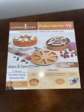 "Perfect Cake Pan NonStick Round 9X9"" 4 Piece Set Baking Supplies"