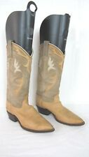 VINTAGE DAN POST Beige Tan Leather Suede Cowboy Western Boots Size 5.5 M Womens