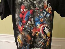Youth Marvel Universe Heroes and Supervillians Black Short Sleeve T-shirt Size L