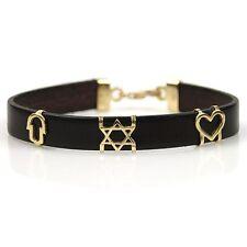 14k Yellow Gold & Leather Star Of David Charm Bracelet Judaica