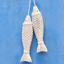 2x Coastal Hand Carved Hanging Wooden Fish Shabby Chic Bathroom Gift Decor S