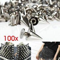 100pcs 9.5mm Silver Cone Studs and Spikes Screwback DIY Cool Punk Garment Rivets