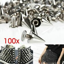 100pcs 9.5mm Silver Cone Studs and Spikes Screwback DIY Cool Punk Garment Rivets