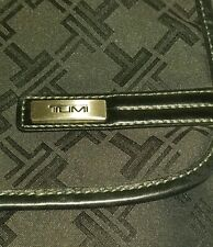 TUMI T-LOGO LEATHER TRIM  CROSSBODY MESSENGER TRAVEL ORGANIZER BAG UNISEX RARE!