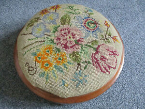 Vintage Round Wood Footstool; Floral Design Embroidery/Tapestry, Glazed Feet