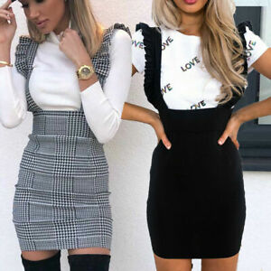 New Womens Hound Dog Tooth Check Ruffle Ladies Frill Pinafore Bodycon Mini Dress