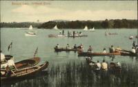 Litchfield CT Boating Bantam Lake Canoes c1910 Postcard