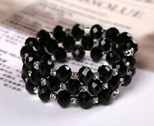 3 ROW BLACK FACETED GLASS BEAD & DIAMANTE CRYSTAL STRETCH MEMORY WIRE BRACELET