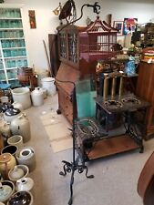 Antique Cast Iron Claw Foot & Hanger Stand with Red Wooden Cage