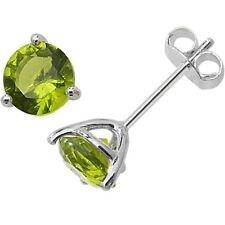 Sterling Silver August Birthstone Stud Earrings Green Peridot Coloured Jewellery