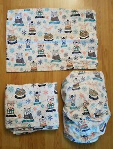 PILLOWFORT Twin Flannel Sheet Set Hipster Animals Owl Fox Bear Moose Dog FABRIC