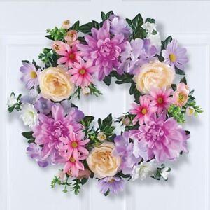 "17"" Diameter Realistic Faux Floral Roses & Daisies Home Door Wreath"