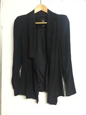 Ellery Jacket Size 8 Black Silk Open Androgynous Long Casual Zip Sleeves