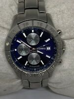 Fossil TI5060 Unisex Stainless Steel Analog Blue Dial Genuine Wrist Watch Aa246