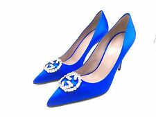 $2250 GUCCI WOMENS BLUE CRYSTAL GG LOGO BUCKLE SILK PUMPS HEELS SHOES 38.5 8.5