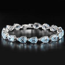 Sterling Silver 925 Genuine Natural Sky Blue Topaz Pear Bracelet 8 Inches