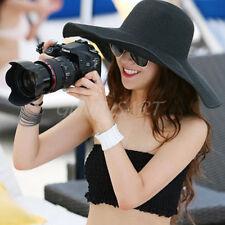SUMMER Women Folding Sun Floppy Black Hat Straw Beach Wide Large Brim UV Cap