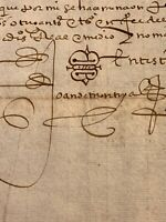 IMPORTANT NOBILITY SIGNED DOCUMENT 1500s Joan de Montoya
