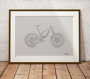 Santa Cruz Nomad CC Mountain Bike Print - Original Outline B&W Art Print Poster