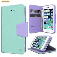 Fit iPhone 6s Plus Luxury PU Leather Folio Wallet Phone Case Color Mint Green