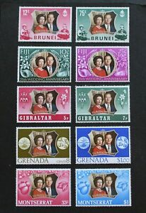 BRITISH COLONIES - 1972 SCARCE QEII SILVER WEDDING SETS X5 DIFF MNH RR