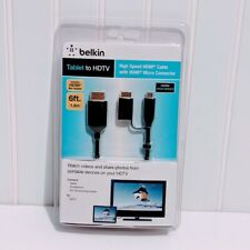 Belkin High Speed HDMI Cable with HDMI Micro Connector - Tablet to HDTV 6' NEW