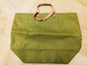 Womens Bag Purse Tote Apple Green Canvas Womans Leather Handles Inner  Zip Pouch