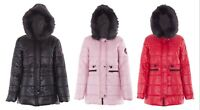 Women Jacket Ladies Quilted Padded Parka Removable Faux Fur Hood Warm Thick Coat