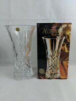 "Masquerade 24% Lead Clear Crystal Large Flower Vase 11 3/4"" - Vintage Never Used"
