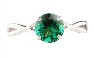 14KT Gold & 100% Natural Zambian Green Emerald 1.15Ct Round Shape Solitaire Ring