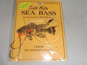 6 SEA BASS BLACK TIDE RITE R465-3/0  2 DROP BEADED HI-LO SALTWATER FISH RIG