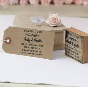 Personalised  Pencil us in wedding stamp / frame heart design