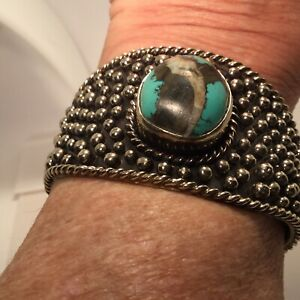 "Paige Wallace Alaskan Arctic Opal Large Cuff Bracelet 6.5"""