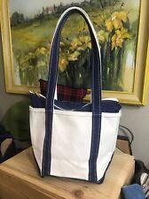 L.L Bean Small Boat and Tote Vintage Bag Handbag Navy Ivory USA Zip Bag Retired