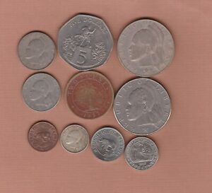 10 LIBERIA COINS 1937 TO 1982 IN A USED TO NEAR MINT CONDITION.