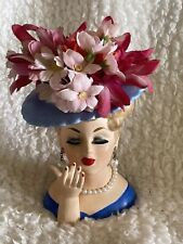 """Napcoware C3307 Blue Hat Lady Head Vase 5"""""""