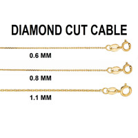 """Solid 14K Gold Diamond Cut Cable Link Chain Necklace, 16""""- 24"""", 0.6mm - 1.1mm"""