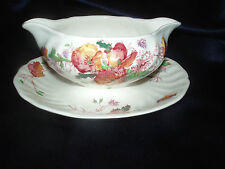 ROYAL DOULTON SHERBORNE 12 OZ GRAVY SAUCE BOAT W ATTACHED UNDERPLATE D5915 SWIRL
