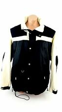 VEEZO MENS XXL FULL ZIP BLACK & CREAM NYLON SKI COAT JACKET PADDED ELBOWS