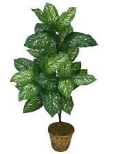 """Two Artificial 41"""" Dieffenbachia Silk Plant Tree No Pot, Bush Decor Palm Flower"""