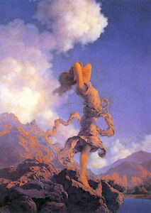 Maxfield Parrish Ecstasy 22x30 Hand Numbered Edition Art Deco Print
