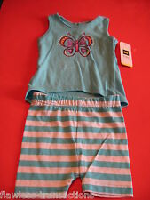 DOLLAR GENERAL DG Top and Short Girls Size 12 Month Aqua Outfit NEW WITH TAGS